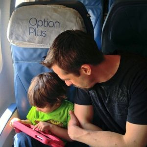 flying air transat with kids