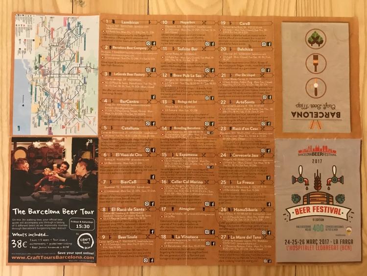 Barcelona Beer Map Side 1