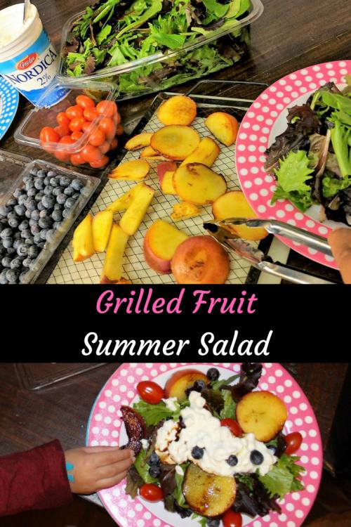 Leafy grilled fruit salad