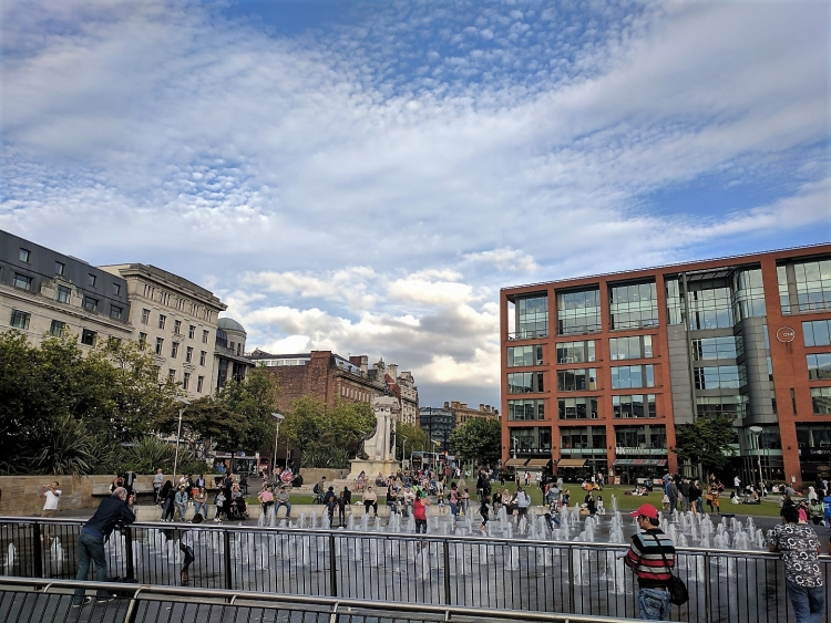 Piccadilly Gardens Manchester with kids