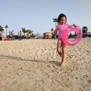 Dubai beach with kids. Bikinis Dubai