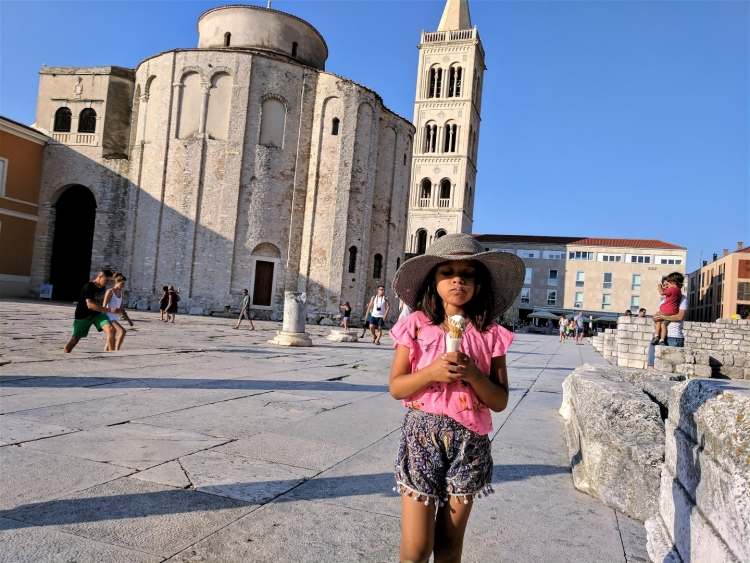 zadar old town with kids