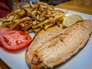 Local Lake Trout with Fries at Great Books & Cafe