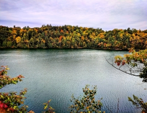Pink lake with kids. fall colours in Ottawa