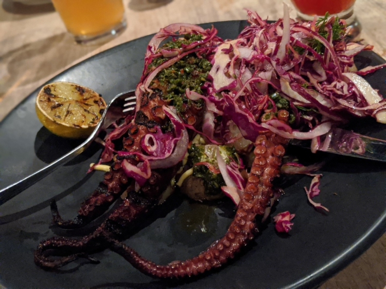 Les enfants terribles Grilled Octopus with Chimichurri and Red Cabbage Slaw
