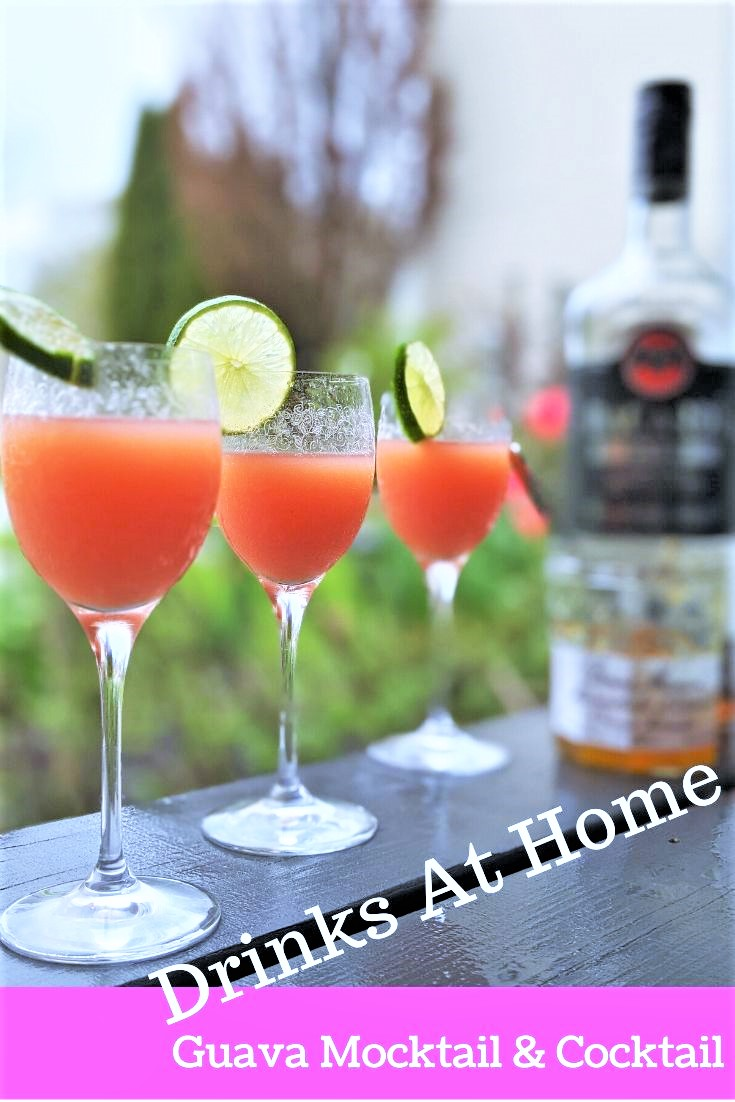 Guava drinks at home with lemon juice, coconut water, marmalade and guava juice. Rum optional. Cocktails and mocktails.
