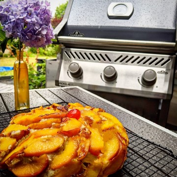 Dairy Free Grilled Upside Down Peach Cake