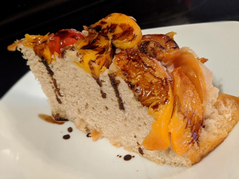 Grilled peach cake bbq