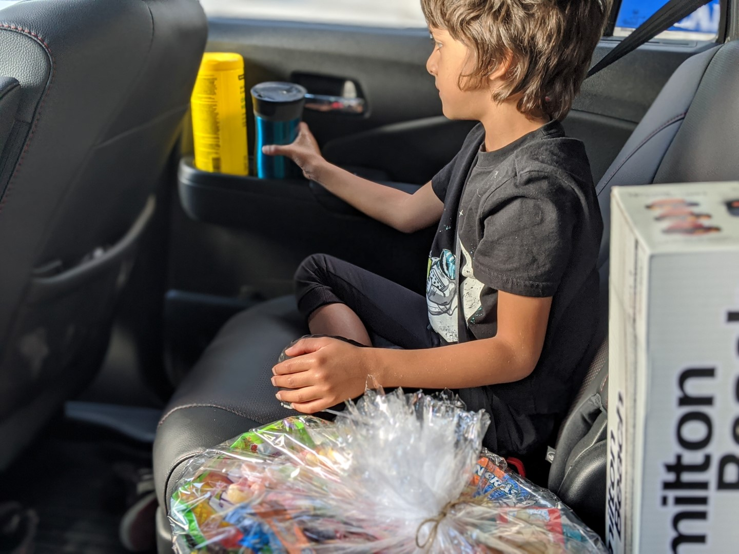 In the car with wipes during pandemic