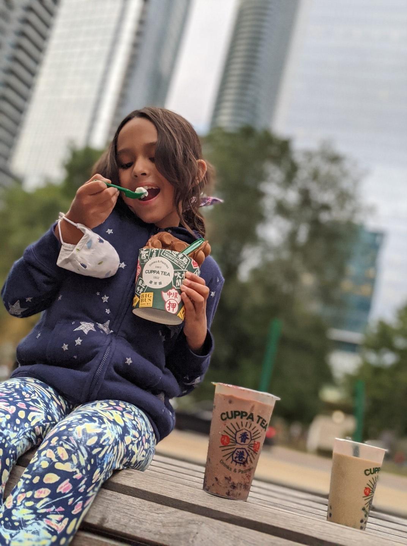girl eating dessert