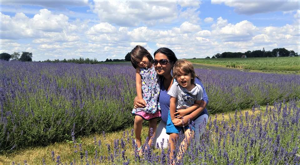 mixed kids in lavender farm Ontario