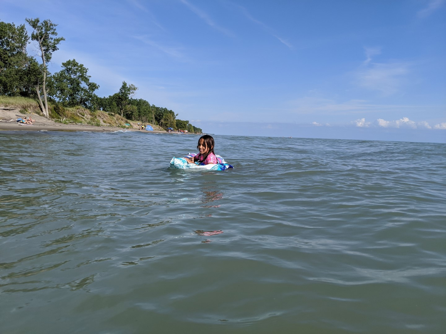 Kid swimming at Long Point Provincial Park