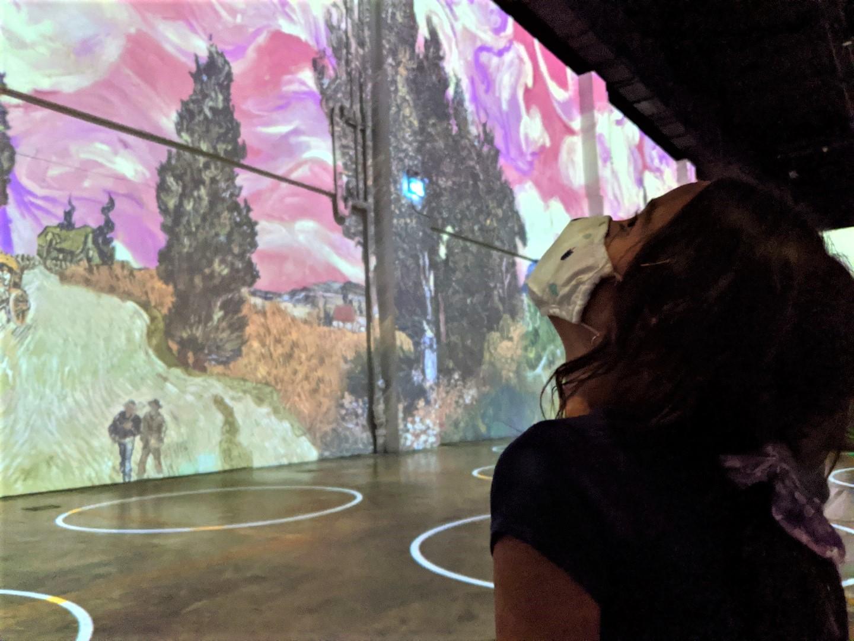 Girl Staring at Van Gogh Painting at Immersive Experience