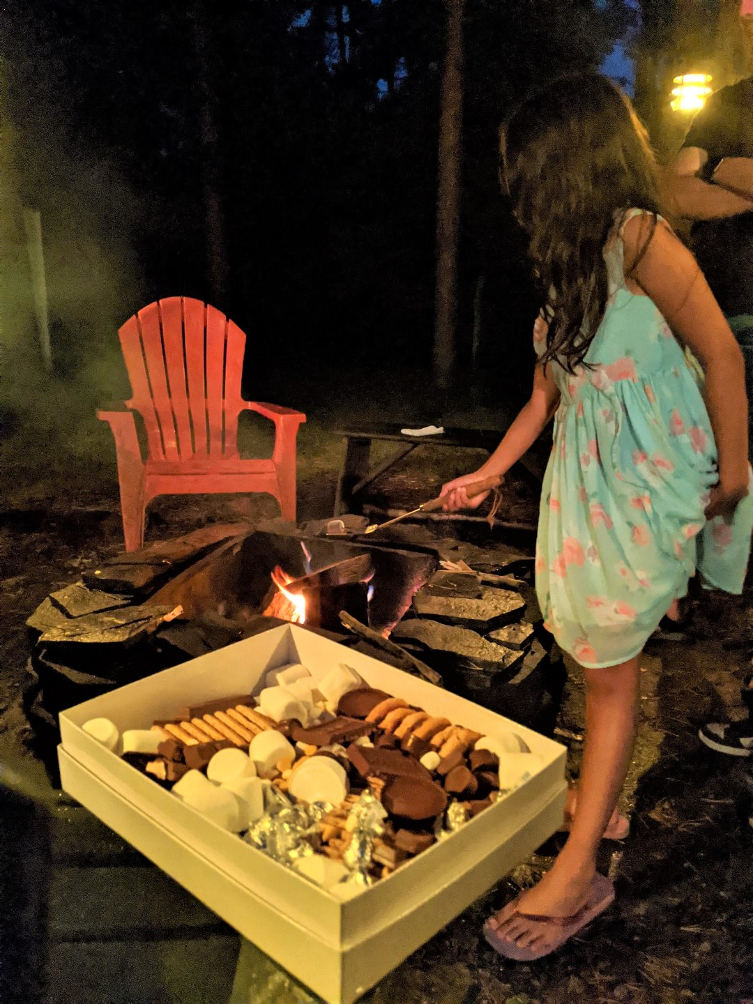 grilling smores at cottage in Ontario