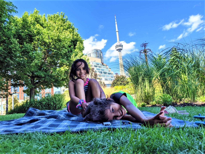 Kids picnic at Toronto's Waterfront Music Garden