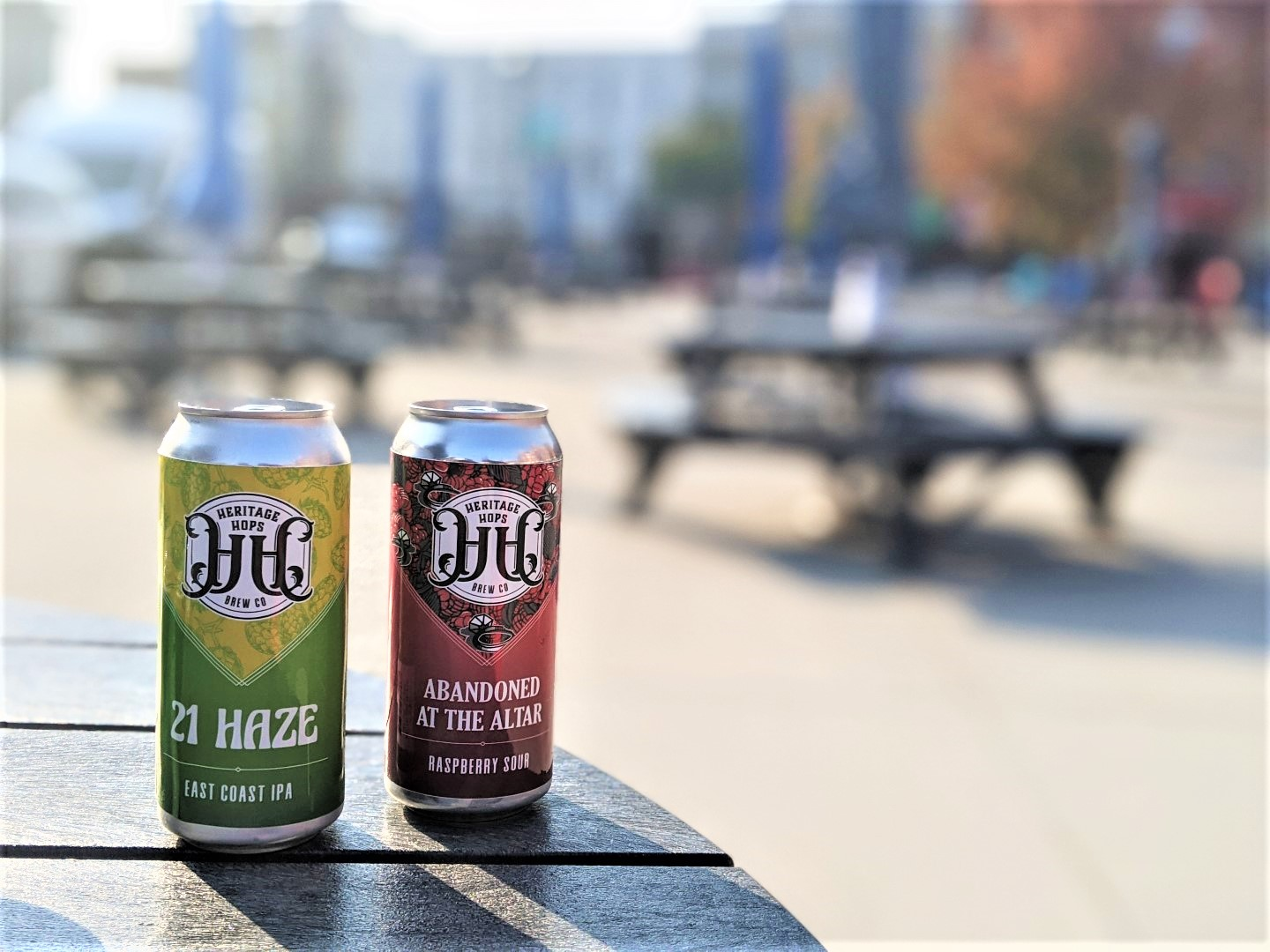 Craft beer cans on patio in Stratford Ontario
