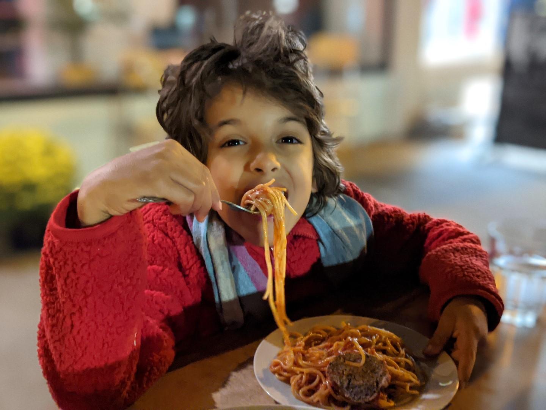 kids eating ao pasta in Stratford