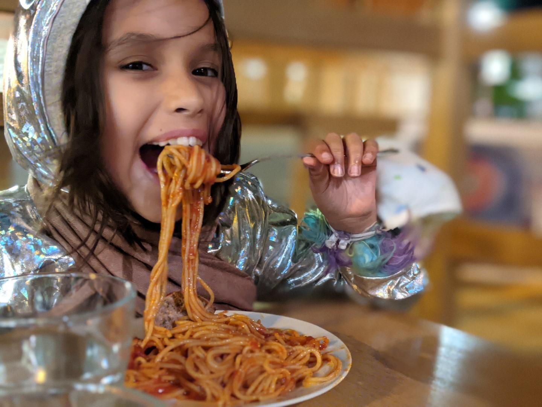 girl eating ao pasta in Stratford