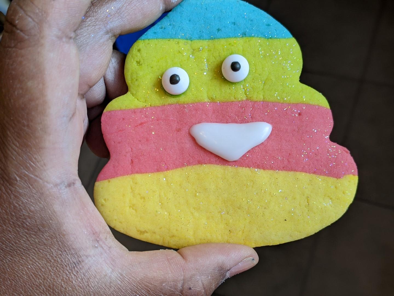Unicorn poop emoji cookie