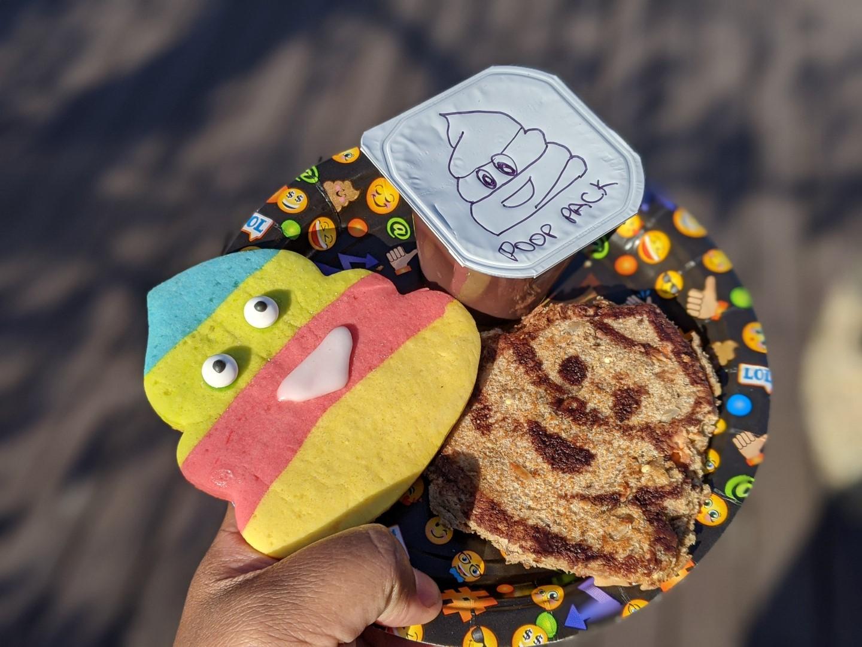 Poop emoji food on plate