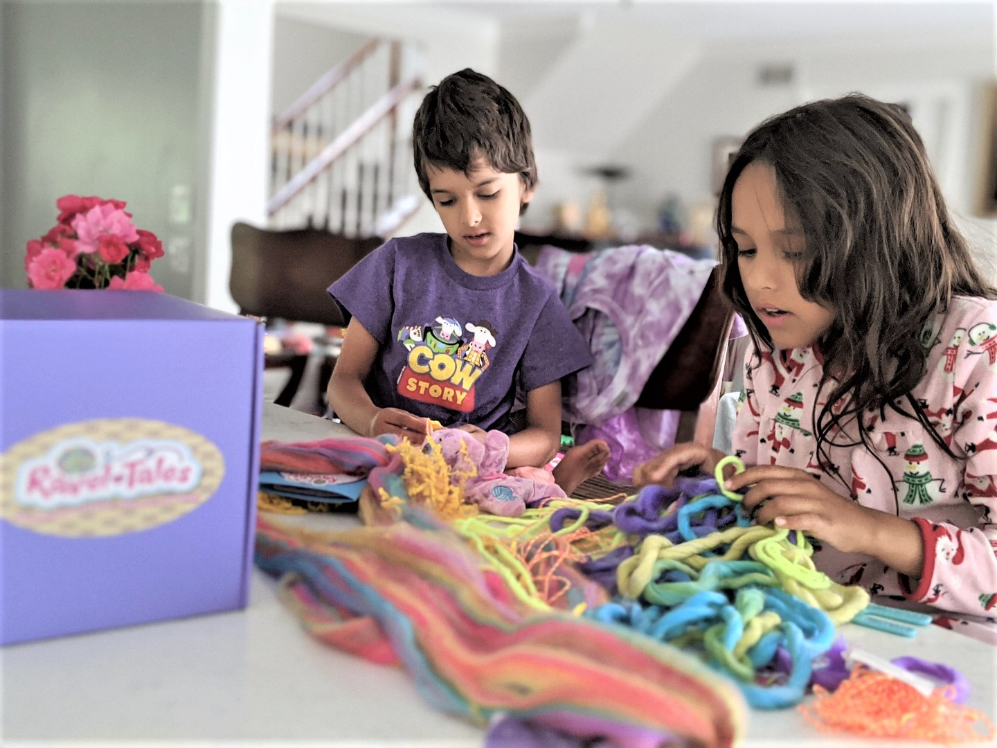 Kids playing with Toys that teach sewing