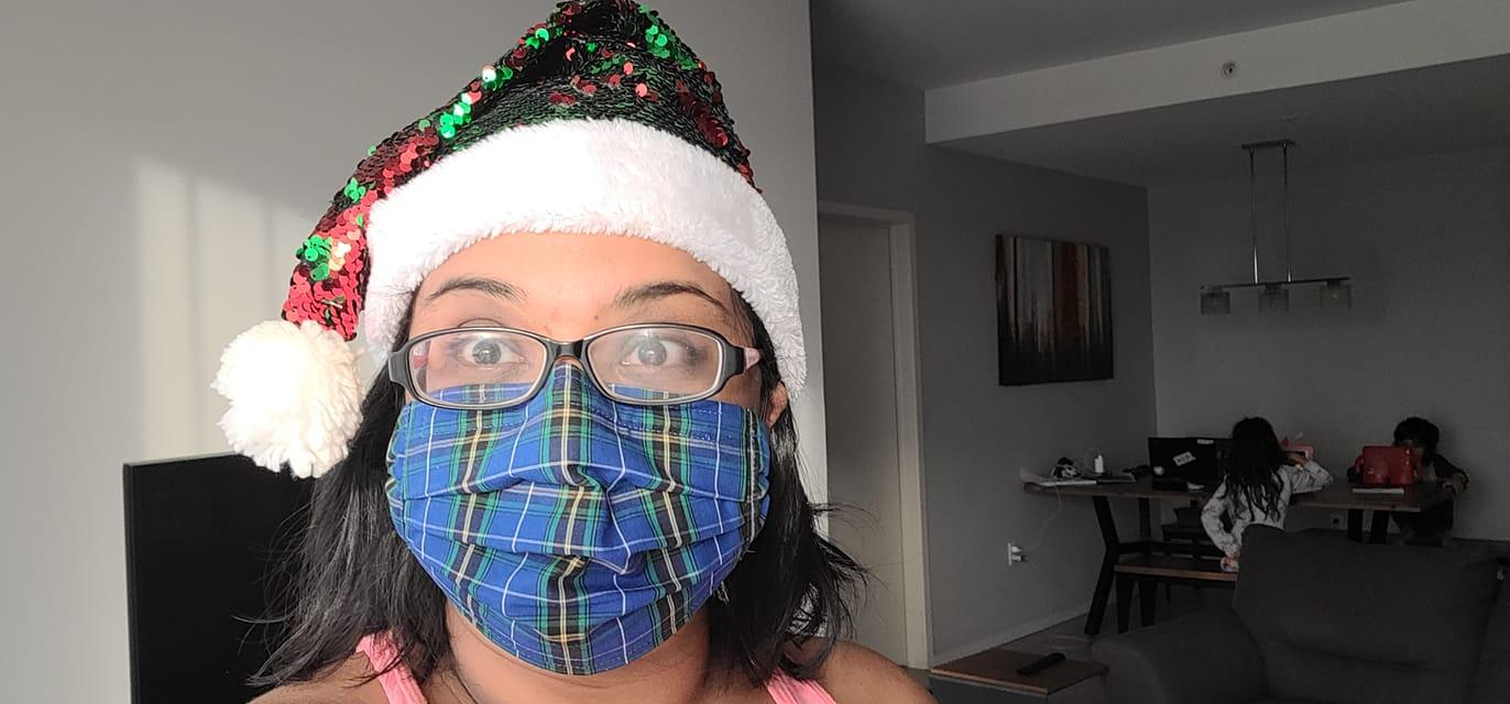 woman wearing Nova Scotian tartan face mask
