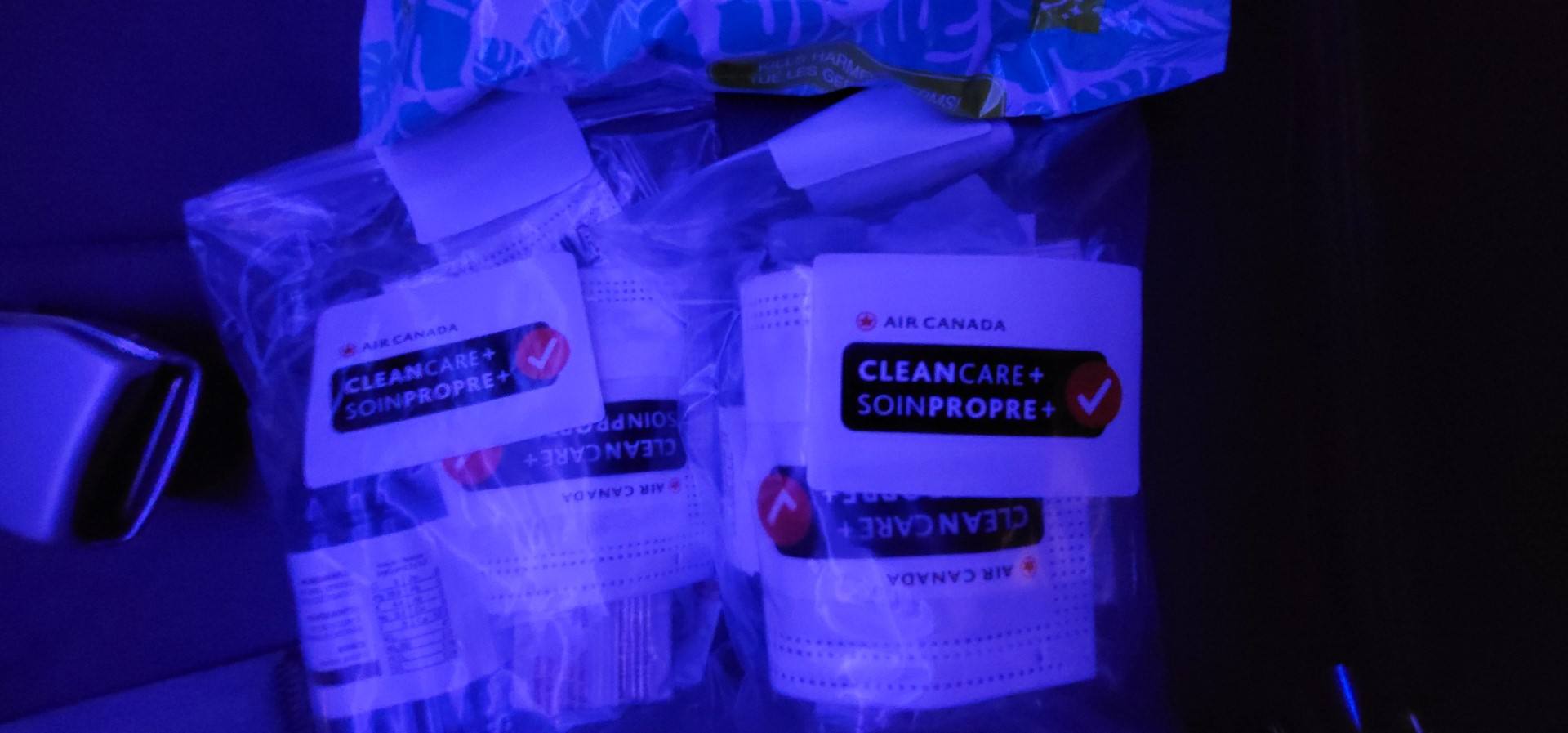 Air Canada care packs on board