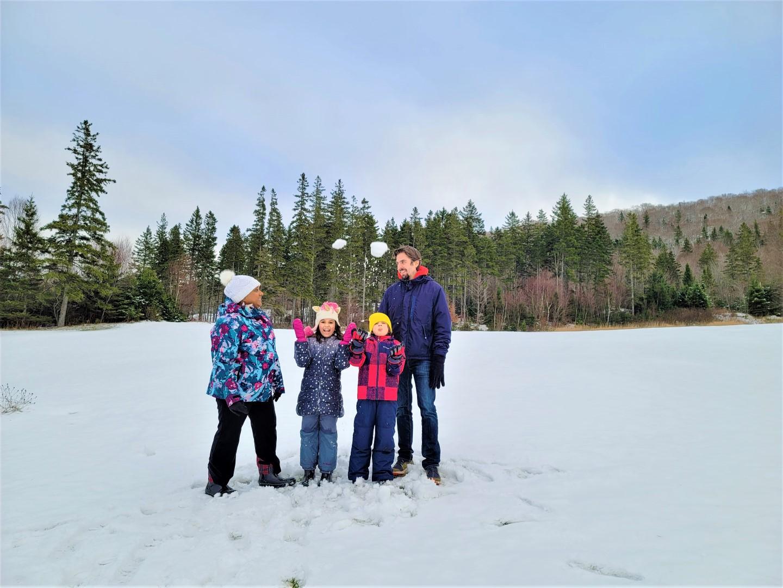 Family visiting Nova Scotia in Winter