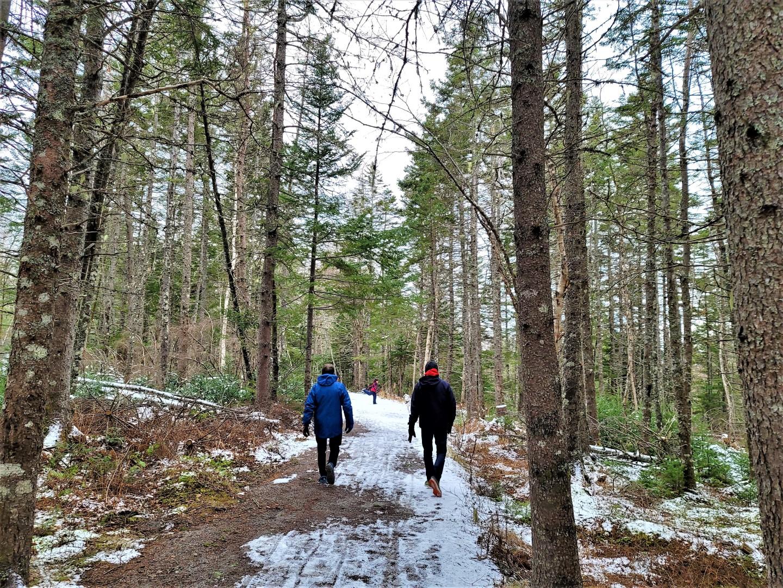 Men wearing winter jackets walking through Two Rivers Wildlife Park