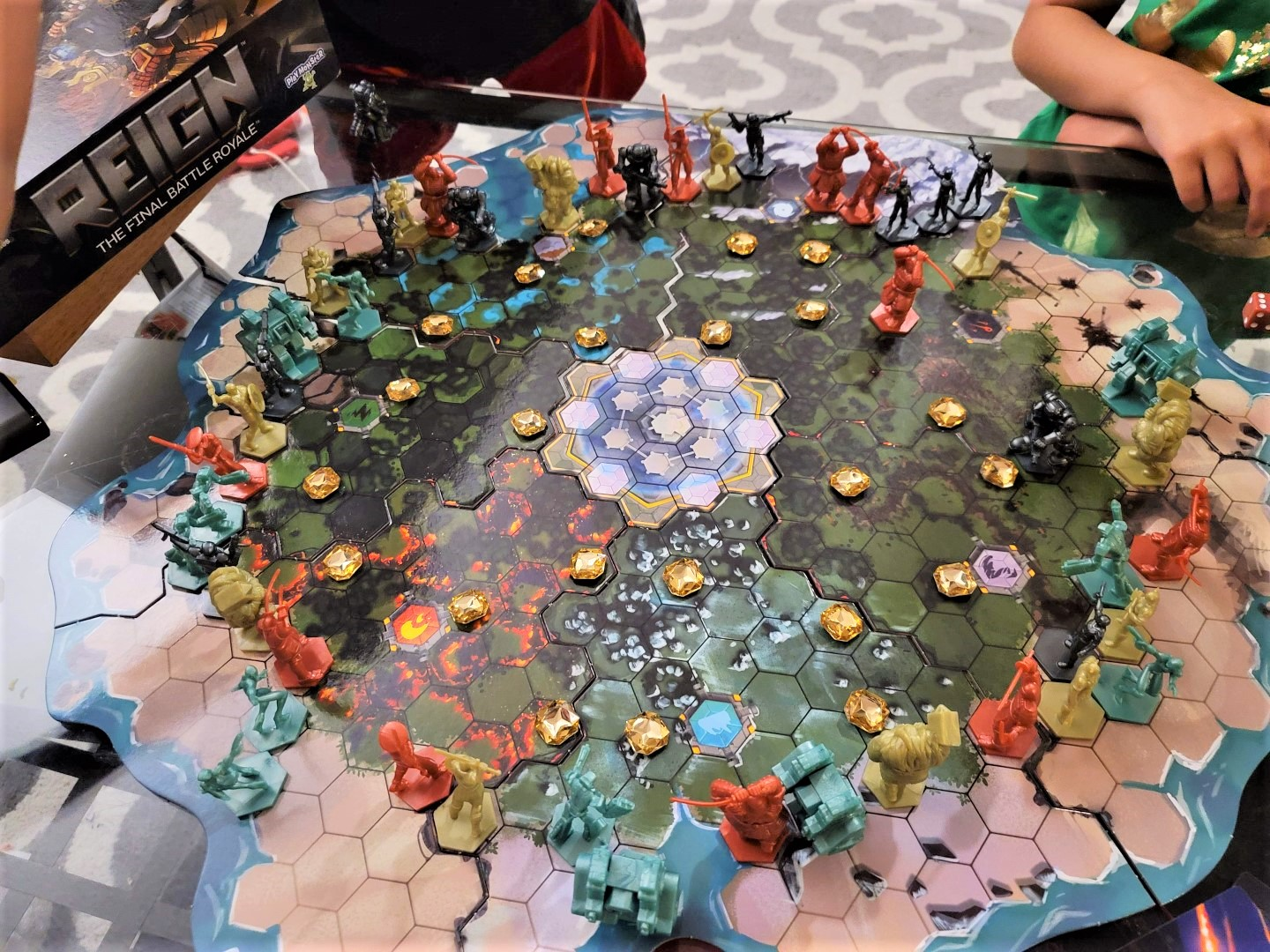 Reign game board set up with pieces