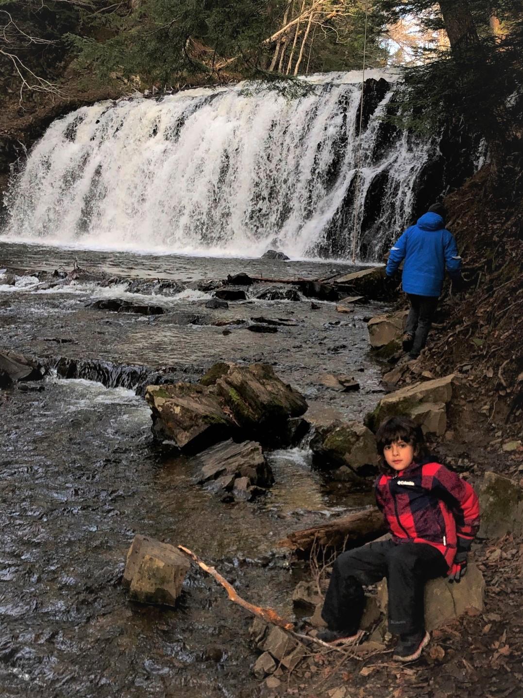 boy at Gillis lake falls