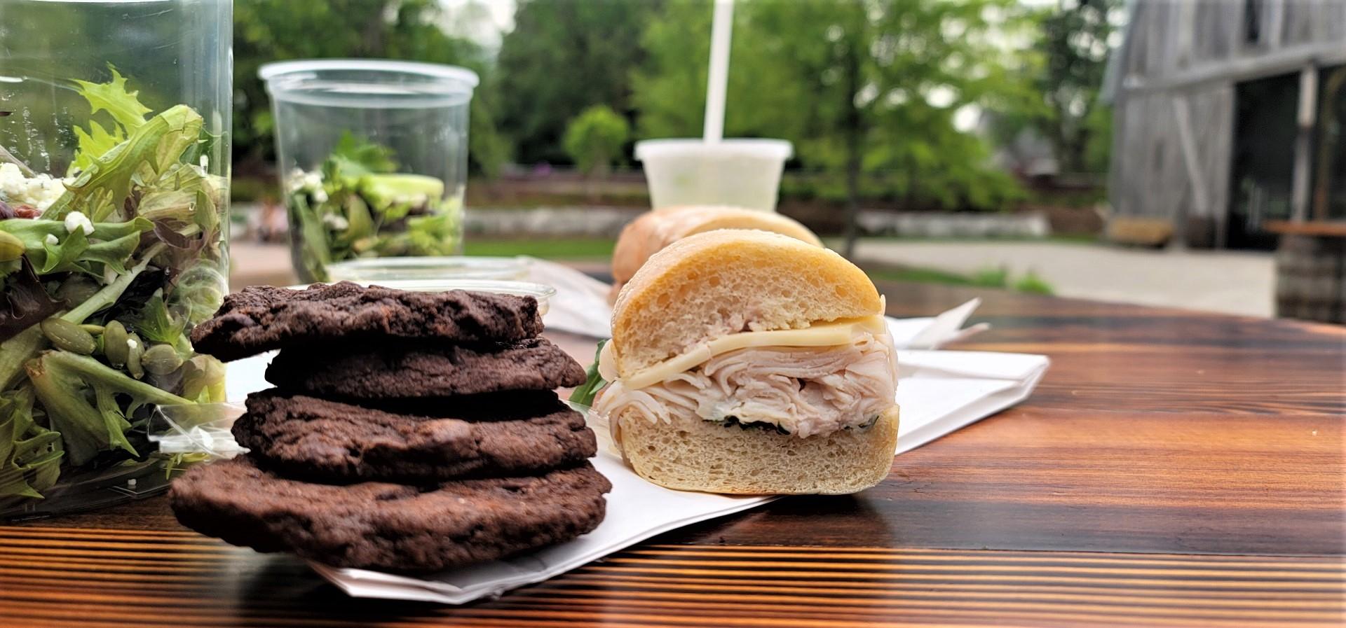 chocolate cookies and turkey sandwich