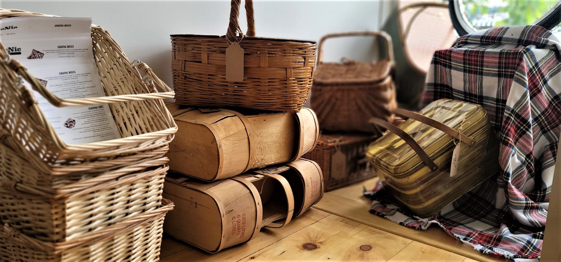 stacked picnic baskets