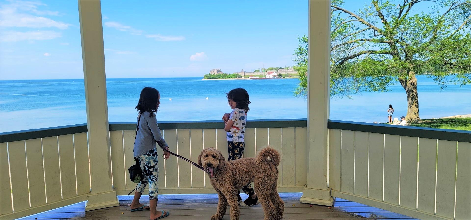 kids and dog in a gazebo over looking Niagara River