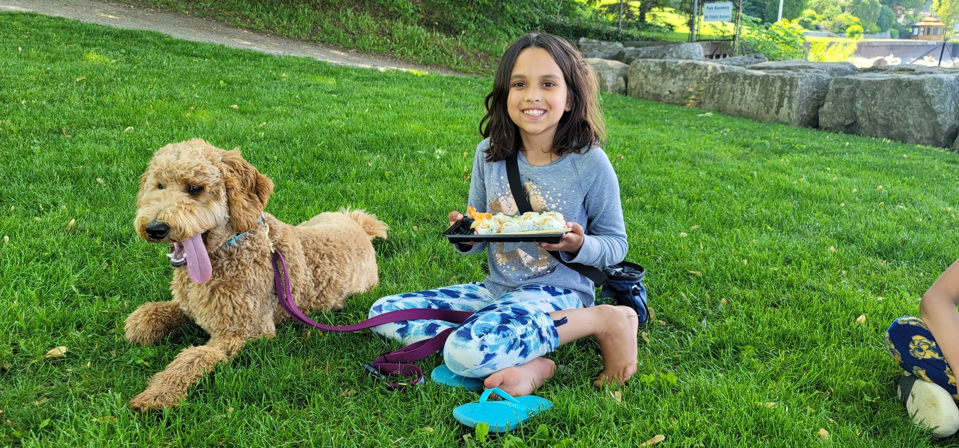 girl holding sushi seated on green grass with flip flops off and dog nearby