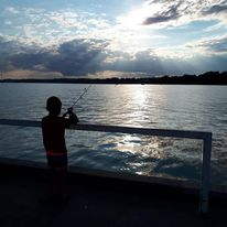 boy fishing in Ontario at Turkey POint