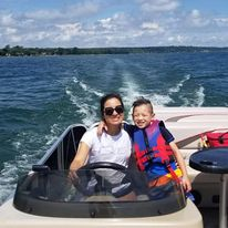 mother and son on boat in Ontario