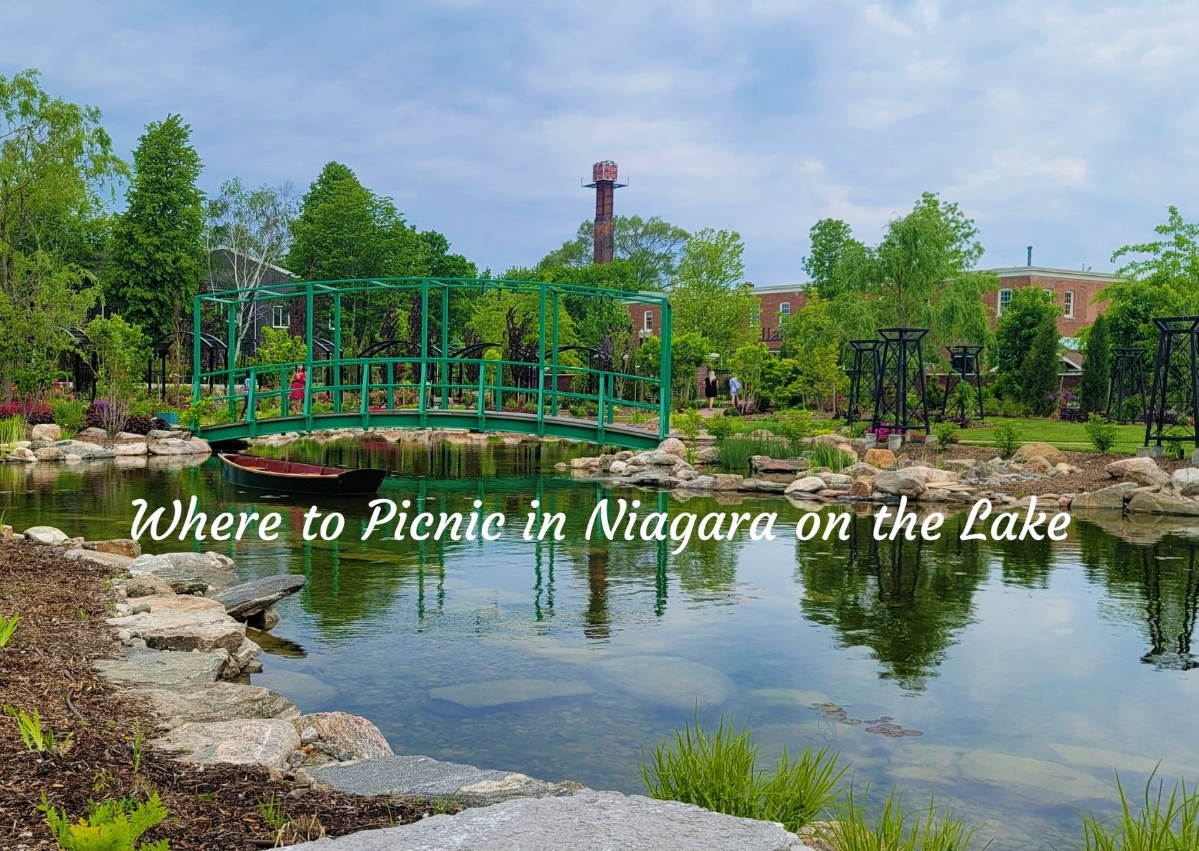 Garden and water with caption Where to picnic in Niagara on the Lake
