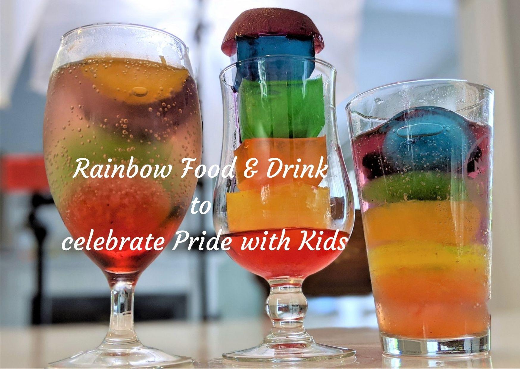 Rainbow ice in glasses for rainbow food