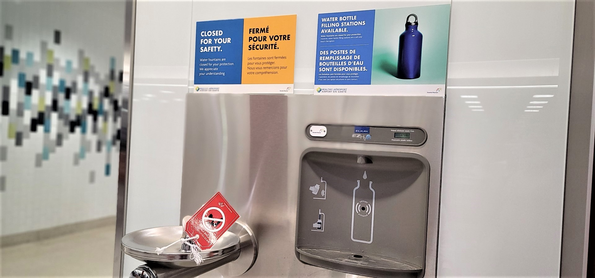 water refill station at Pearson Airport