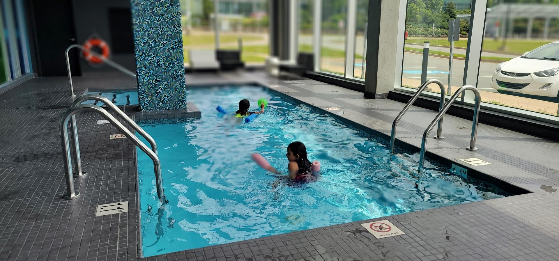 swimming pool at Halifax airport hotel