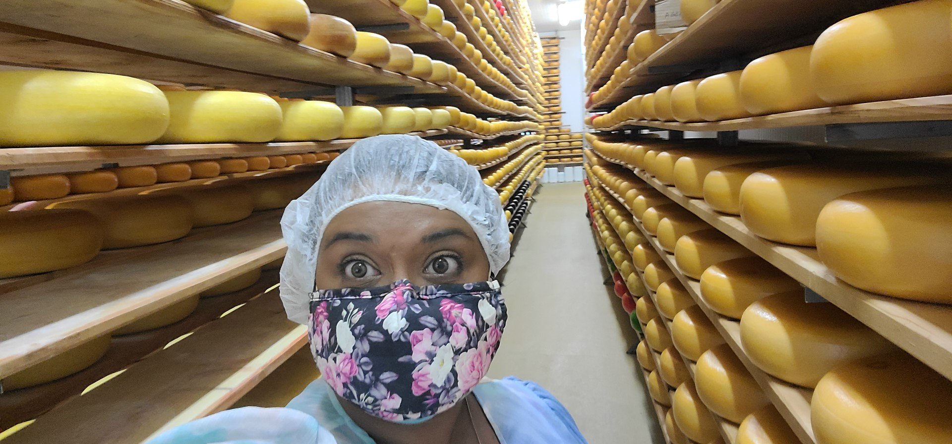 lady wearing hairnet at Ontario cheese farm