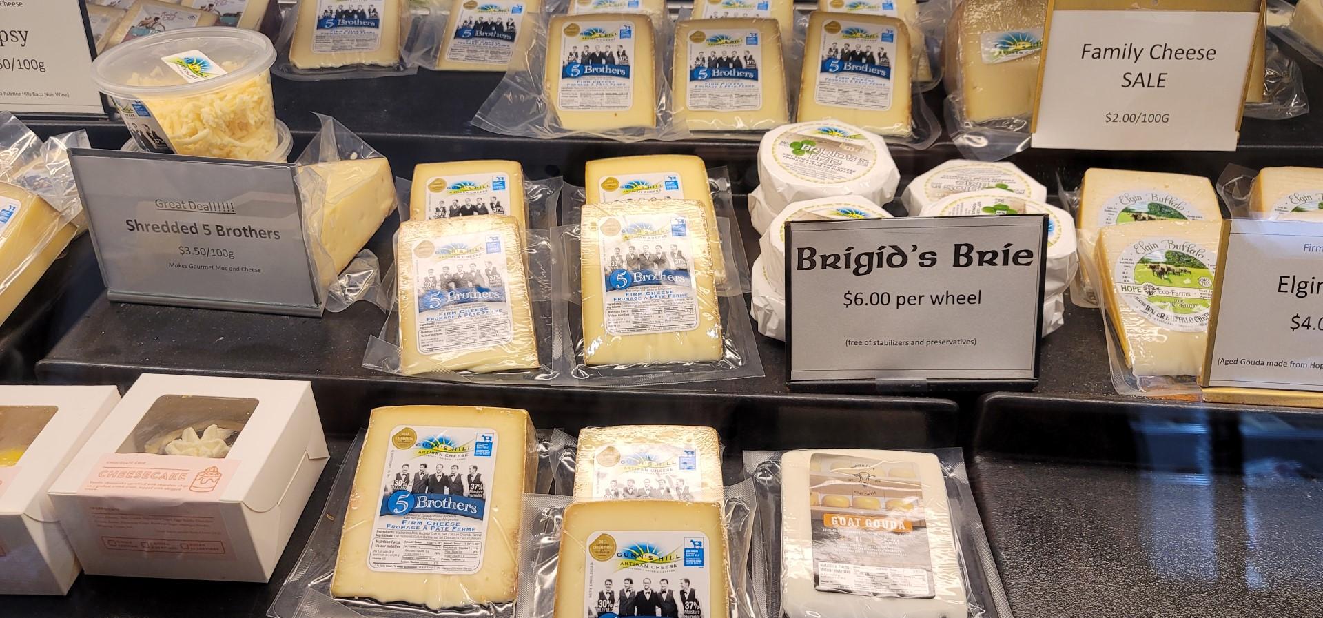 Cheese display at Gunns Hill Cheese