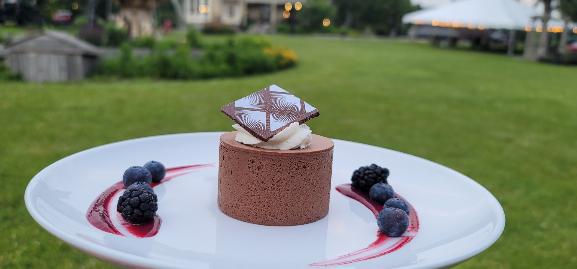 Chocolate torte on white plate with garnish and gardens in background