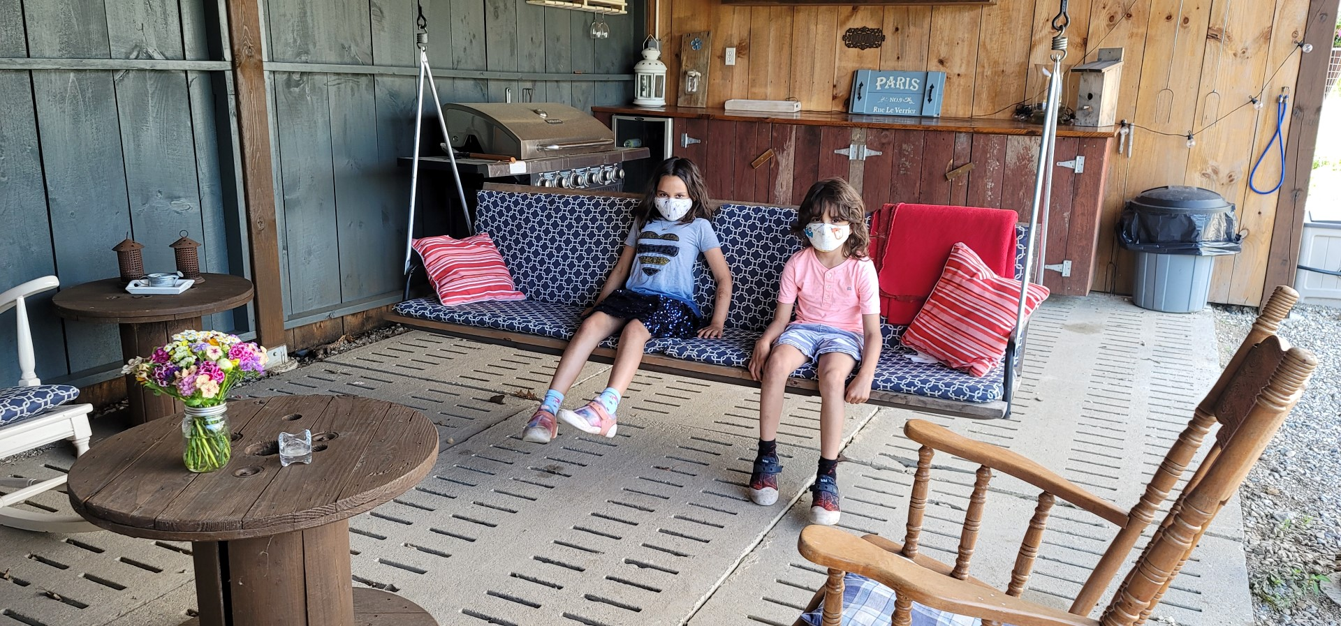 Kids relaxing at cabin in Oxford County