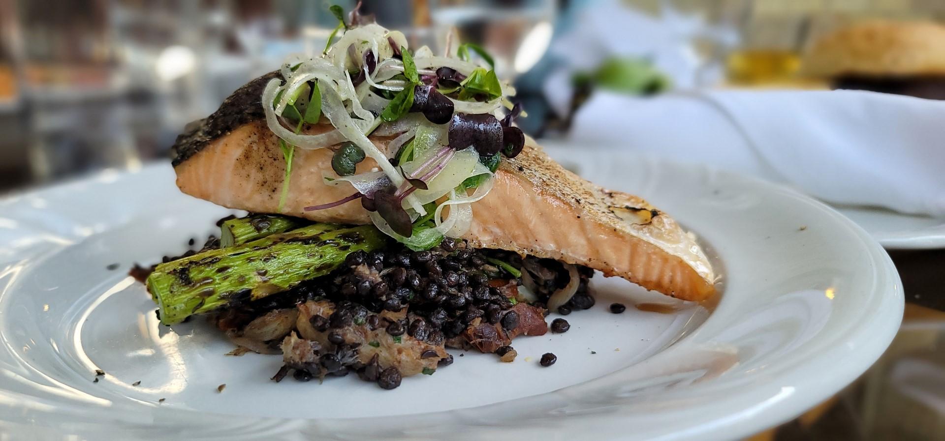 Lentils and Salmon Elmhurst Inn