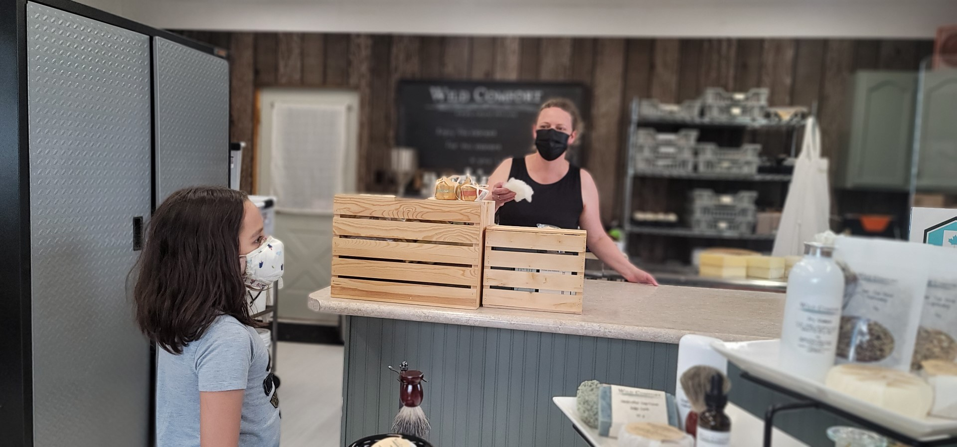Masked kid at soap store in Ontario