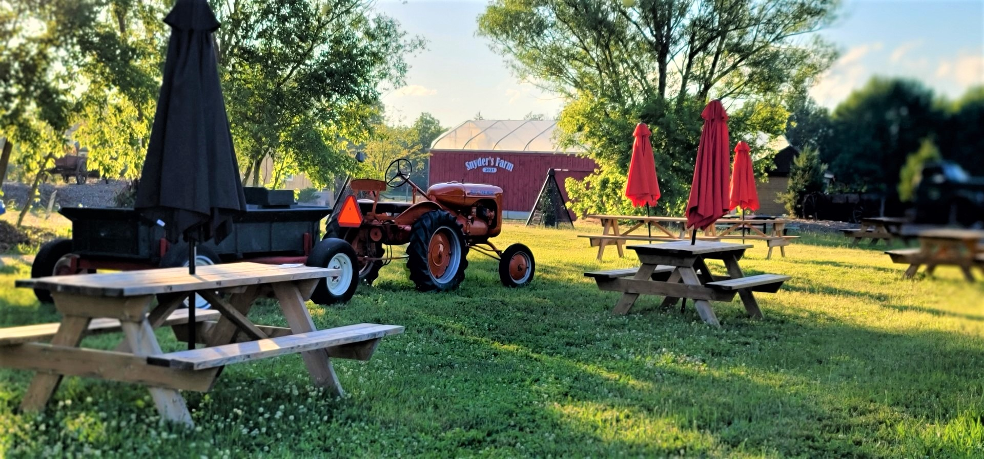 Snyder's Farm barn with tractor and picnic tables at sunset