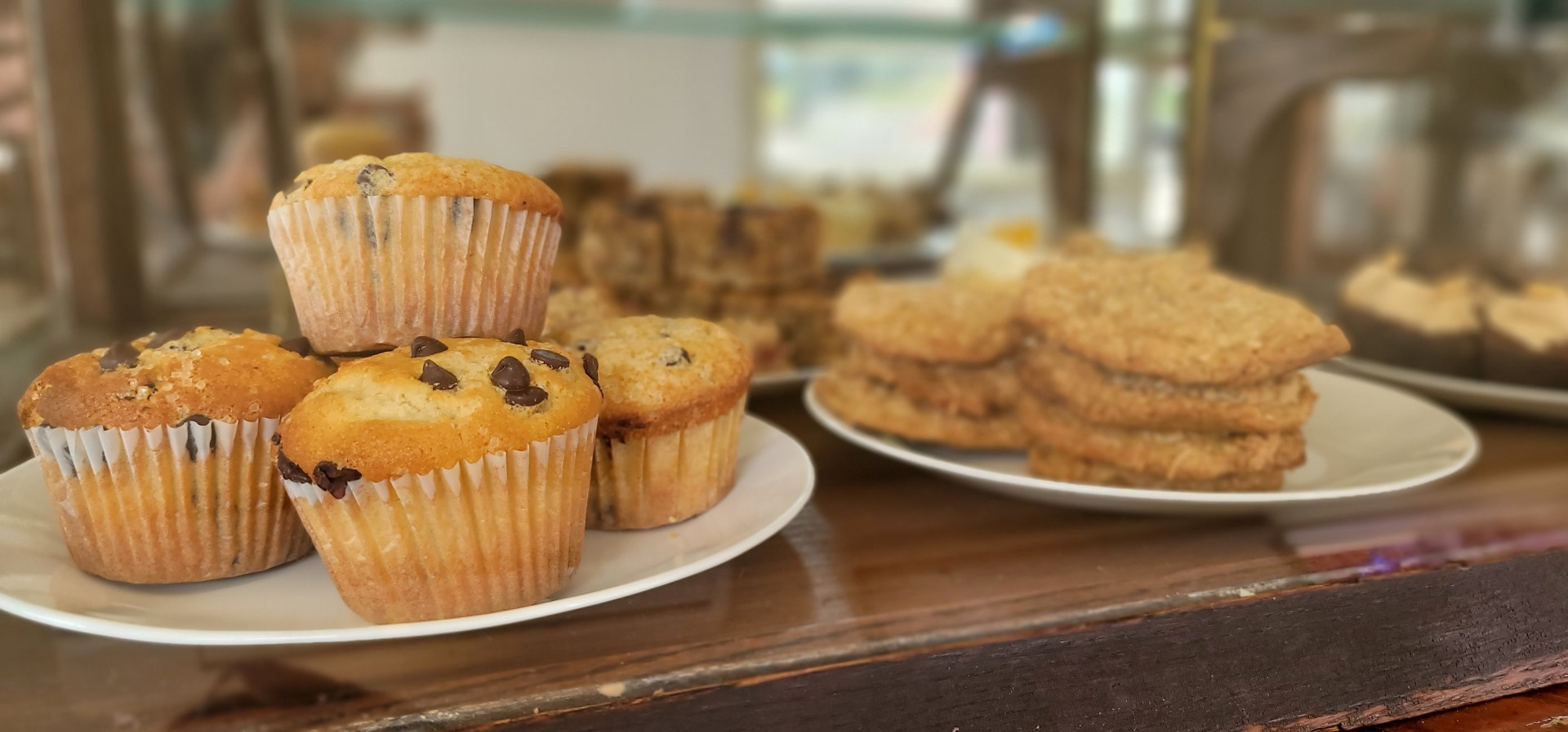 baked goods on display at coffee shop in Oxford County