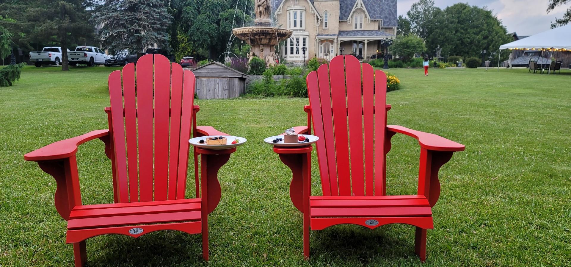 dessert on red muskoka chairs